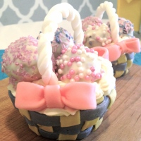 Edible Easter Baskets -- Red Velvet Cupcakes & White Chocolate Cake Balls